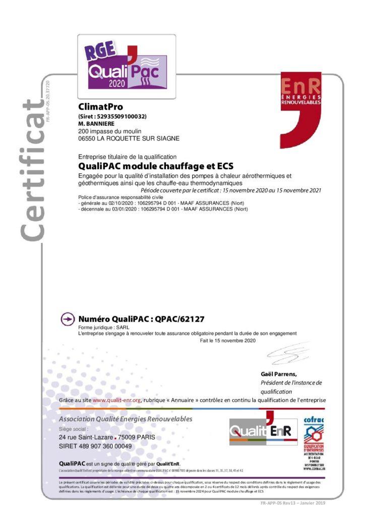 Document RGE QualiPAC Pompe à chaleur air/eau et ballon thermo dynamique